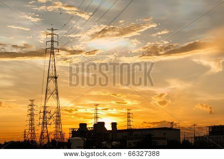 The Electric power station on a sunset