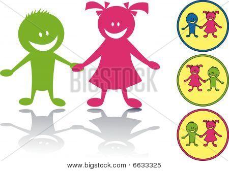 Happy children icon