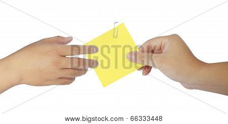 Human Hand Holding Blank Notepaper On White