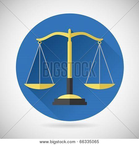 Law Balance  Symbol Justice Scales Icon on Stylish Background Modern Flat Design Vector Illustration