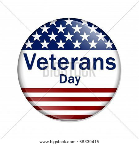 Veterans Day Button A white button red stripes and stars with words Veterans Day isolated on a white background poster