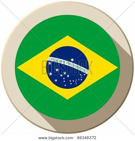 Brazil Flag Button Icon Modern