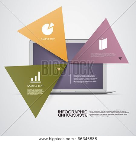 Triangle Light Text Boxes with Laptop Computer Can Be Used for Workflow Layout, Diagram, Chart, Web Design. Eps 10 Stock Vector Illustration