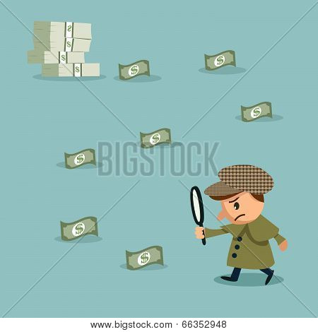 Sherlock: Using Magnifying Glass To Look At Money