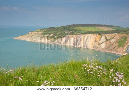 Alum Bay Isle of Wight beautiful coast next to the Needles tourist attraction