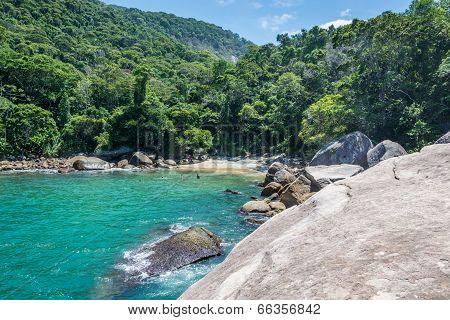 Unique Secret Beach At Ilha Grande Tropical Island. Riod Do Janeiro, Brazil.