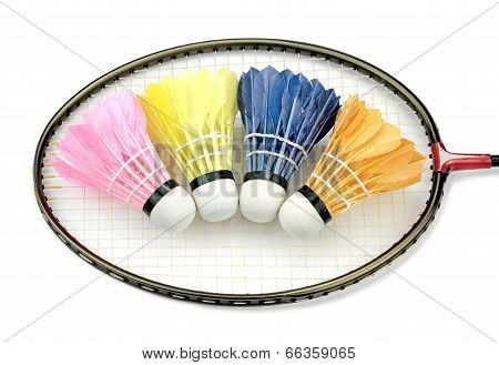 Badminton shuttlecocks on a badminton racket