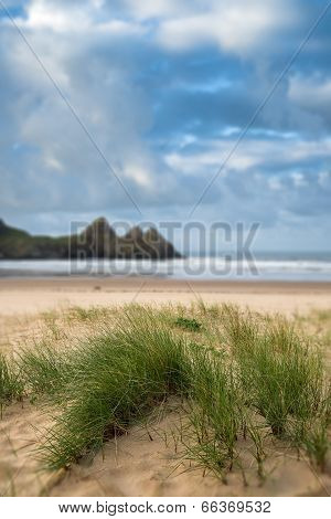 Beautiful Blue Sky Morning Landscape Over Sandy Three Cliffs Bay