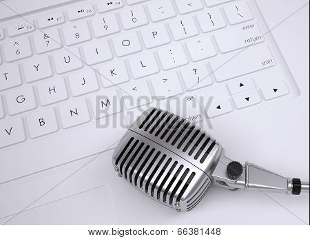 Old microphone on the keyboard