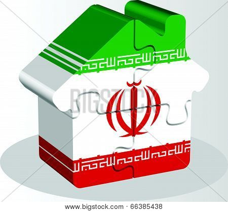 Vector illustration of house home icon with Iranian flag in puzzle isolated on white background