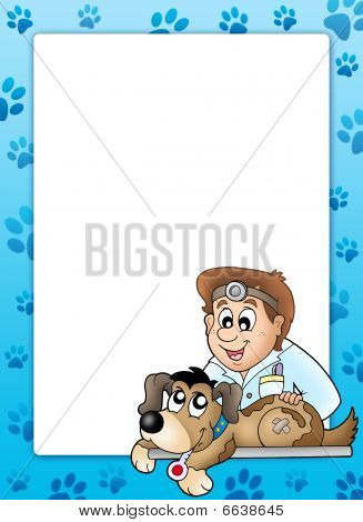 Frame with dog at veterinarian - color illustration. poster