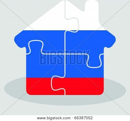 house home icon with Russian flag in puzzle isolated on white background