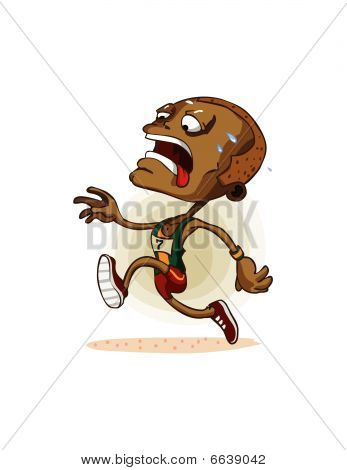 African Athlete on Marathon. Detailed vector illustration in isolated in white. poster