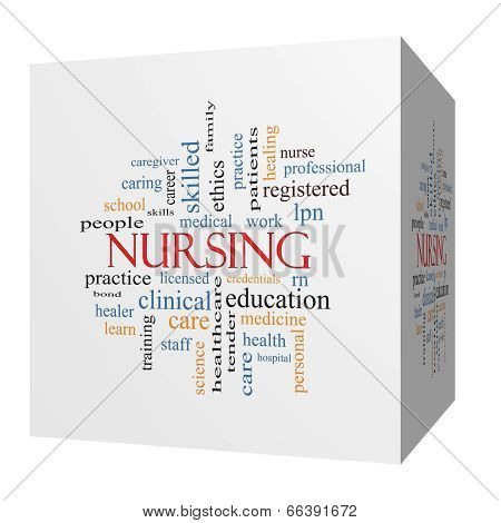 Nursing 3D Cube Word Cloud Concept