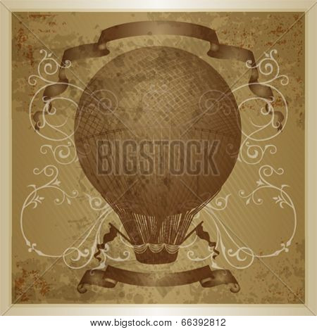 Hot air balloon.  Eps 10 file with transparencies and drop shadow(banner).All elements are separate, easily editable in separate layers. Vector illustration scale to any size.