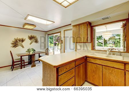 Bright Kitchen Room With Dining Area