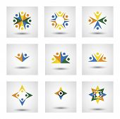people in circle community or team of kids employees vector icons. This graphic illustration also represents unity teamwork leadership leader qualities joy happiness excitement & euphoria poster