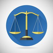 Law Balance  Symbol Justice scales Icon on Stylish Background Modern Flat Design Vector Illustration poster