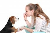 dog obedience training trainer with pet.  poster
