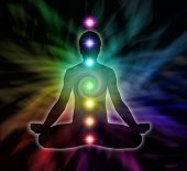 Silouette of a man in lotus meditation position with Seven Chakras on flowing rainbow energy background poster