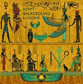 Set of Ancient Egyptian Deities, with Gold Egyptian Background, with Hieroglyphs - Set includes Isis, Osiris, Anubis, Hathor, Horus and Ra, winged scarabs, ankh, canopic jar and pharaoh symbols poster