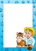 Frame with cat at veterinarian - color illustration. poster