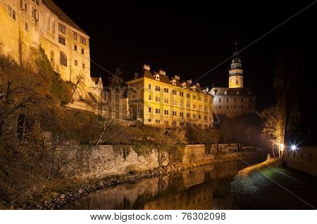 Krumlov Castle At Night, Czech Republic.