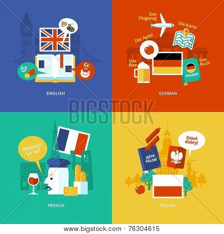 Set of flat design concept icons for foreign languages. Icons for english, german, french and polish