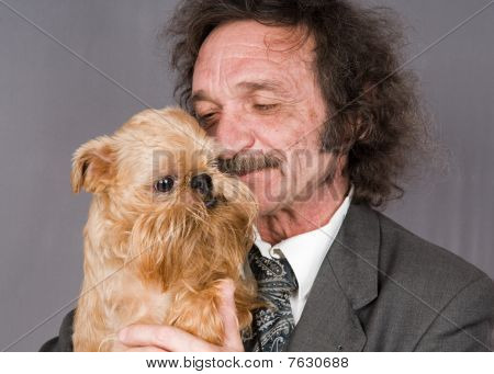 Man With Moustaches And The Doggie With A Beard