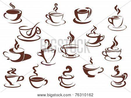 Doodle sketch set of steaming hot beverages