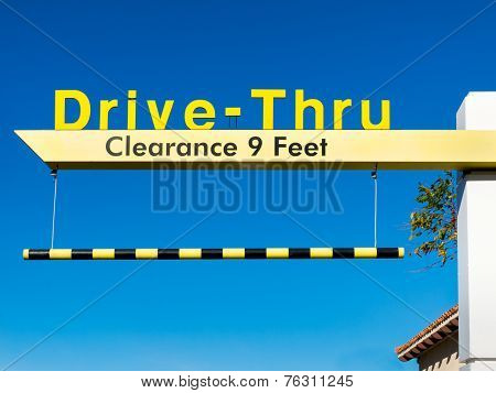 Yellow Overhead Mcdonald's Drive-thru Sign