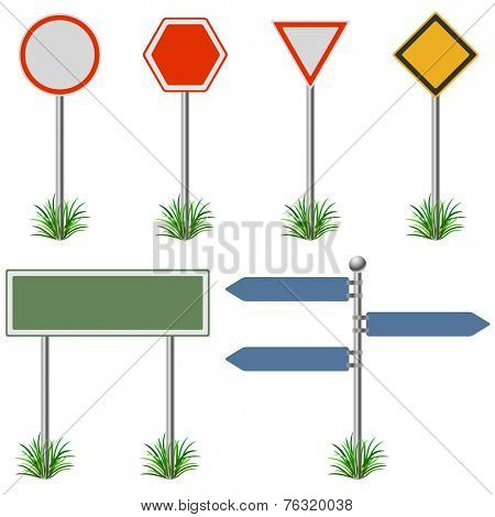 Blank street post signs set vector template.