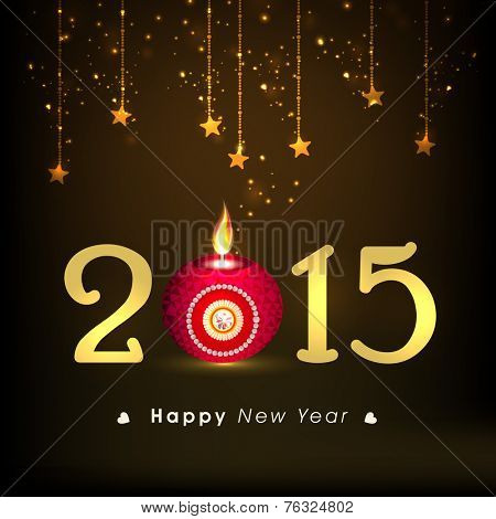 Happy New Year 2015 text with pink illuminated oil lit lamp and hanging stars on shiny brown background.