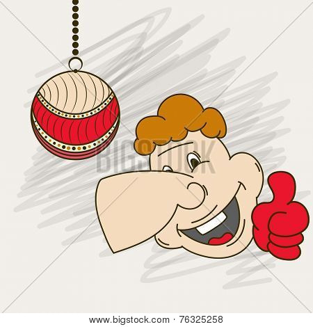Cartoon of man face showing thumb up with hanging X-mas Ball for Merry Christmas and other occasion celebration.