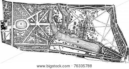 Hyde Park And Kensington Gardens Environs Vintage Engraving