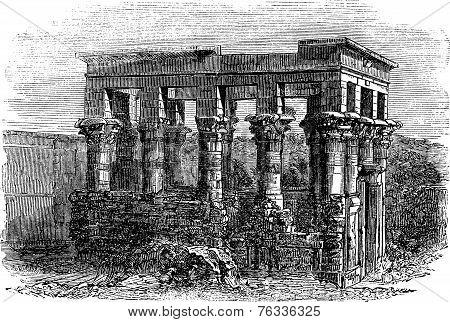 Temple Of Isis At Philae, Vintage Engraving