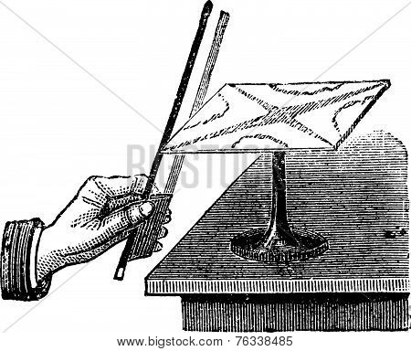 The Way To Produce The Chladni Figures With Square Plate Vintage Engraving
