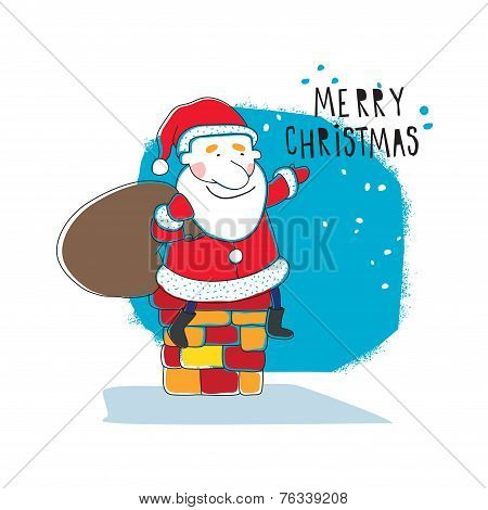 Santa Claus sitting on a pipe for Christmas with a bag of gifts. Vector illustration