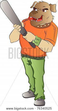 Humanoid Dog With A Baseball Bat, Illustration