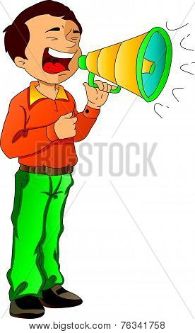 Man Shouting Through A Megaphone, Illustration
