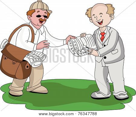 Vector Of Vendor Selling Newspaper.