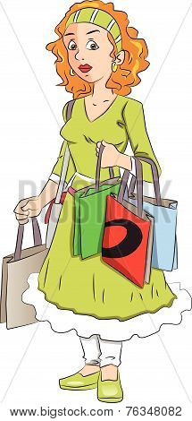 Vector Of Woman Carrying Shopping Bags.