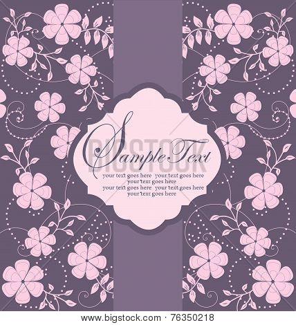 Vintage Wedding Invitation Card With Ornate Elegant Retro Abstract Floral Design