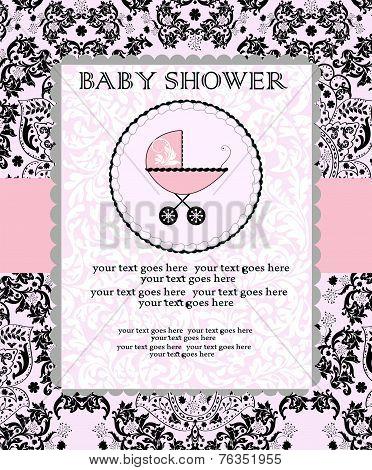 Vintage Baby Shower Invitation Card With Ornate Elegant Abstract Floral Design