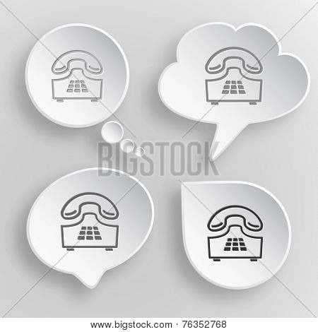 Push-button telephone. White flat vector buttons on gray background.