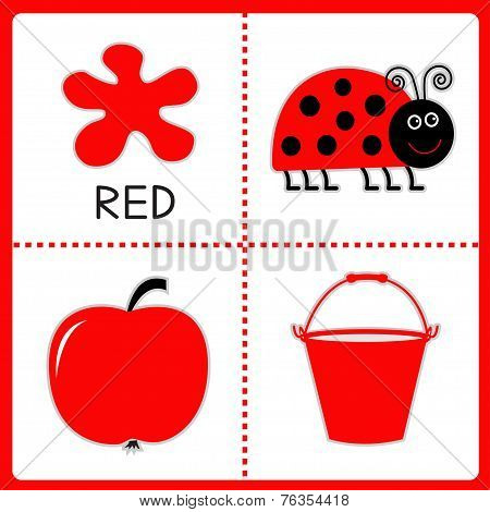 Learning red color. Ladybug apple and bucket. Educational cards for kids. Vector illustration poster