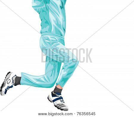 Vector Of Cricket Fielder Taking Catch.