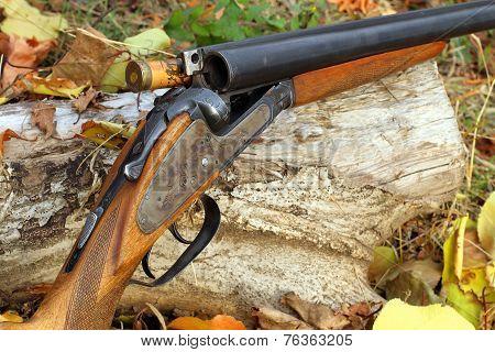 A Wooden Retro Shotgun With Shot