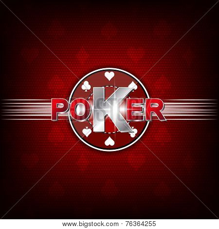 Poker illustration on a red background with card symbol and chip, editable vector design for your poster or poker tournament, banner poster