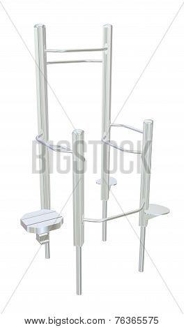 Pull-up bars or shower chrome rack 3D illustration poster